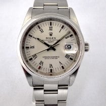 Rolex Oyster Perpetual Date Stal 34mm Srebrny Rzymskie