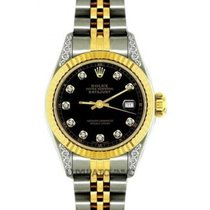 Rolex Datejust Ladies' 26mm Black Dial Yellow Gold And...