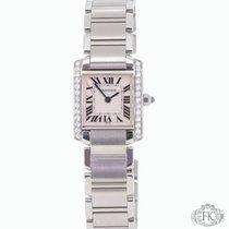 Cartier Tank Francaise   Diamond Set Steel Ladies   Sapphire