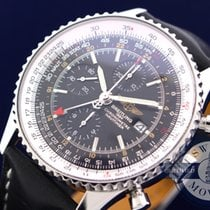 Breitling Navitimer World pre-owned 46mm Black Chronograph Date GMT Calf skin