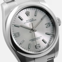 Rolex SS 34mm Oyster Perpetual Silver Arabic 114200 model