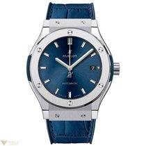 Hublot Classic Fusion Automatic Blue Titanium Leather Men's Watch