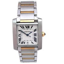 Cartier Large 18k Yellow Gold and Stainless Steel Tank Française