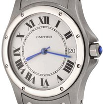Cartier Santos (submodel) pre-owned 33mm White Date Steel