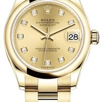 Rolex Yellow gold Automatic Champagne 31mm new Datejust