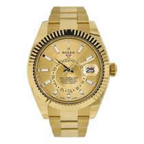 Rolex Yellow gold Automatic Champagne No numerals 42mm pre-owned Sky-Dweller