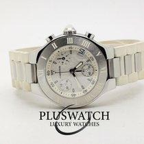 Cartier 21 Chronoscaph Stahl 32mm Weiß Arabisch