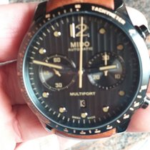 Mido Multifort Chronograph Steel 44mm Black Arabic numerals