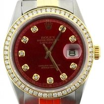 Rolex Datejust Men's 36mm Red Dial Yellow Gold And...