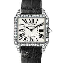 Cartier Santos Dumont Ladies 18K Solid White Gold Diamonds