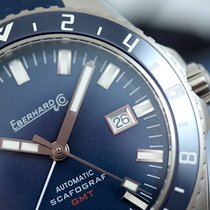 Eberhard & Co. Scafograf GMT Automatic Blue Stick Steel on...