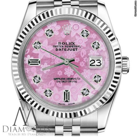 Rolex Datejust 31mm Pink Flower Baguette Diamond Dial 68274