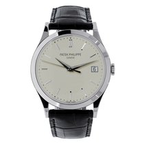 Patek Philippe Calatrava 38mm White Gold Watch on Leather Strap