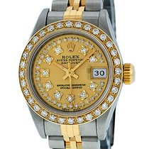 Rolex Datejust SS / 18K YGold Champagne String Diamond Dial