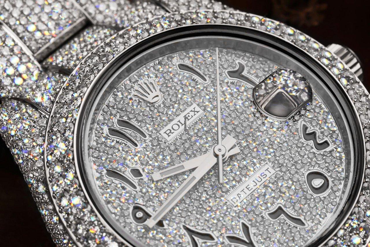 Rolex Datejust II Arabic Script Diamond Dial Iced Out Watch 116300