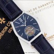 Vacheron Constantin Malte pre-owned 38mm Blue Tourbillon Date Year Crocodile skin