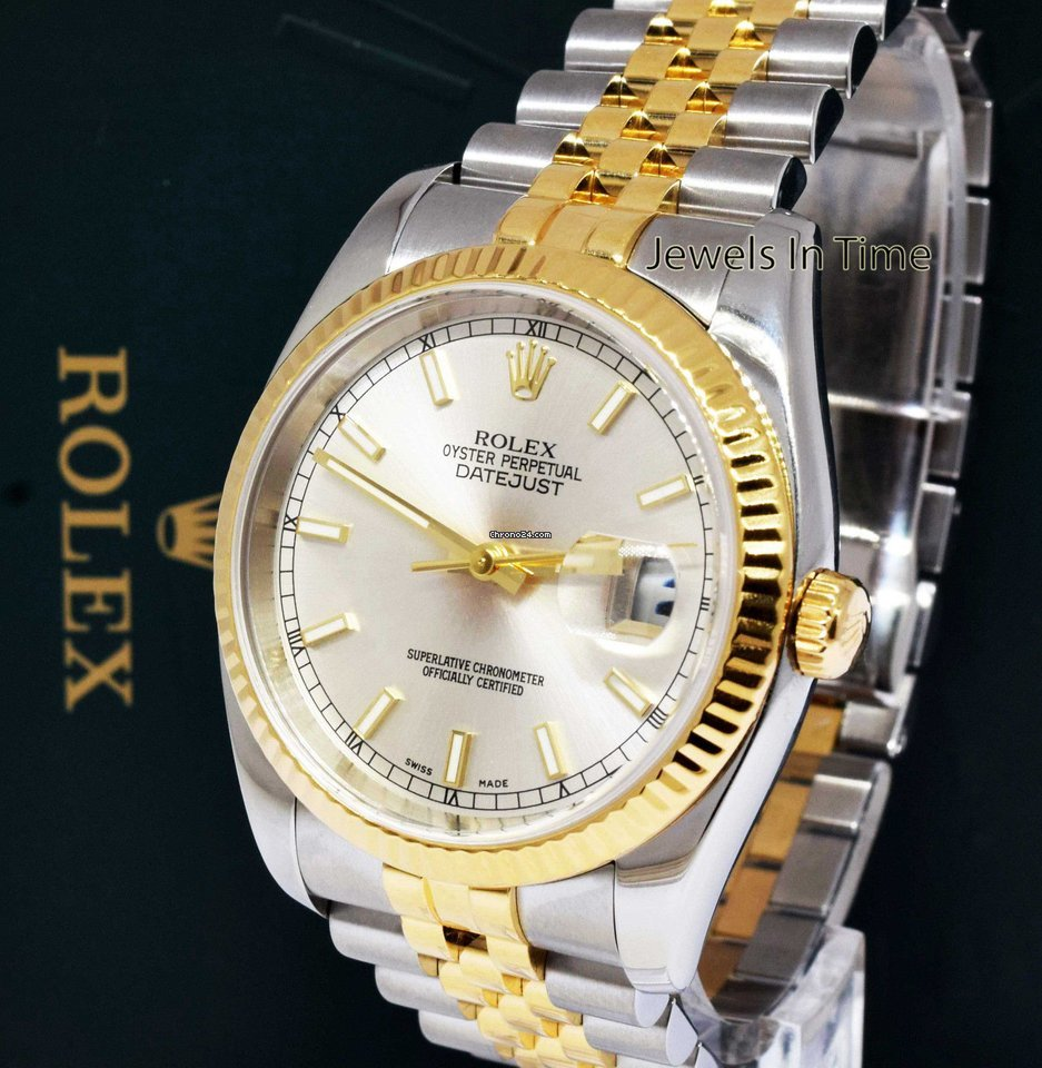 5cdd24029cbea Rolex Datejust 18k Yellow Gold   Steel Silver Index Dial Mens... for Rs.  592