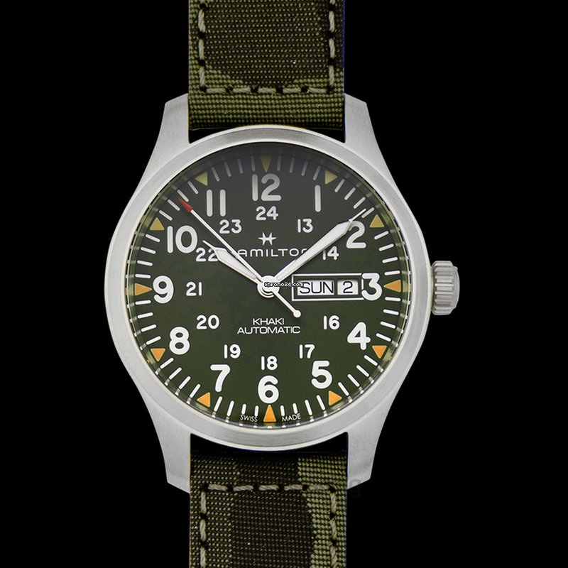 Hamilton Khaki Field Automatic Green Dial Stainless Steel Men S Watch