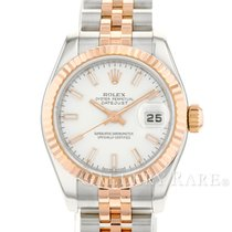 Rolex Lady-Datejust Goud/Staal 26mm Wit Geen cijfers
