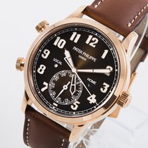 Patek Philippe Travel Time Ροζέ χρυσό 42mm Καφέ Αραβικοί