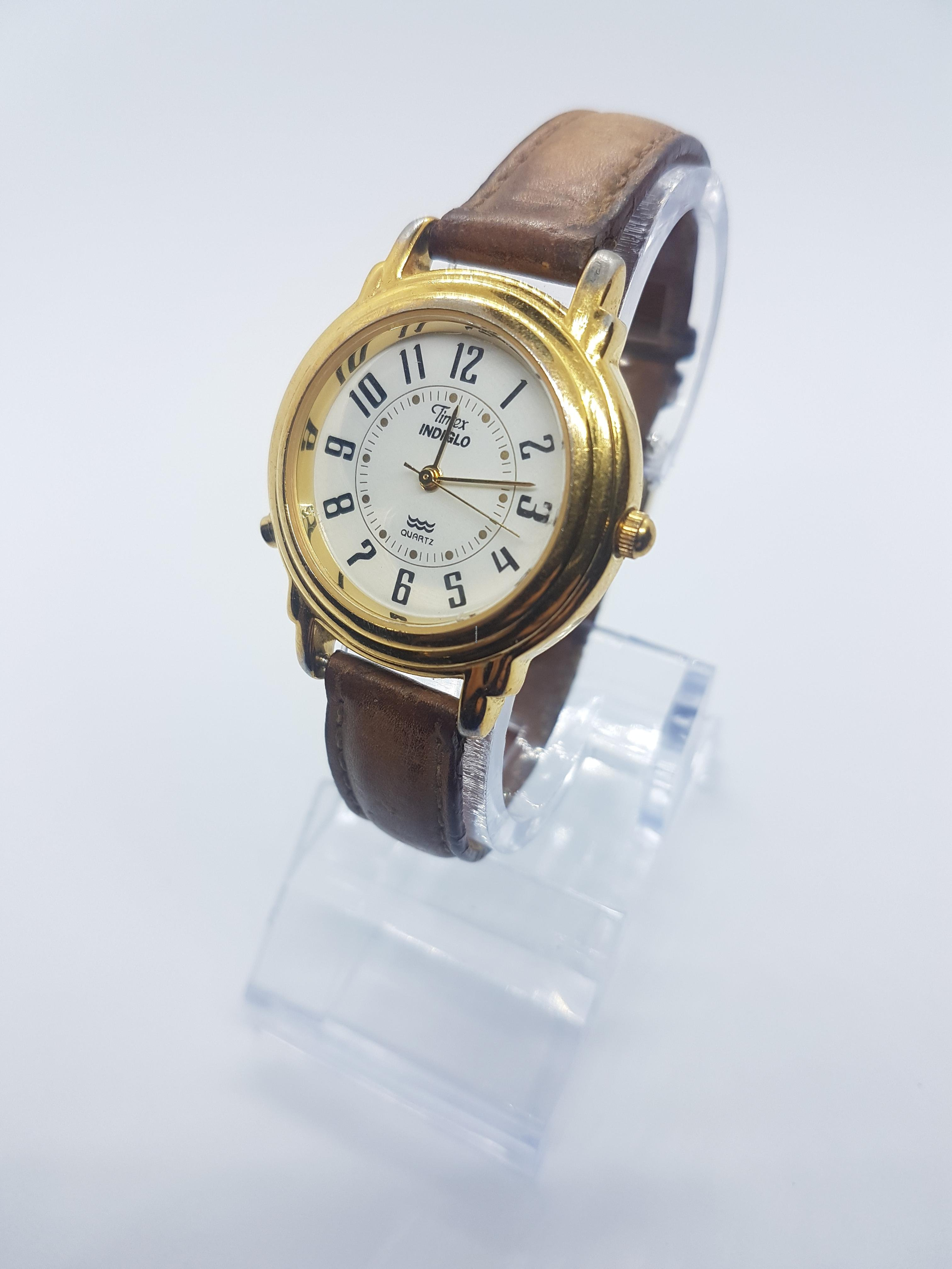 Timex Gold Tone case TIMEX INDIGLO Water Resistant Arabic    for