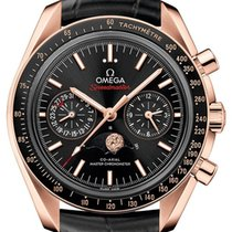 Omega Oro rosado Automático Negro 44.2mm nuevo Speedmaster Professional Moonwatch Moonphase