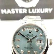 Rolex 118206 Day-Date Ice Blue Diam Dial President Brac Platinum