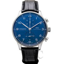 IWC Portuguese Chronograph Staal 41mm Blauw