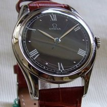 Omega Vintage 30T2 SC steel black dial roman numerals post-WWII