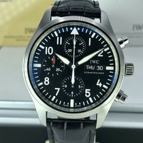 IWC Pilot Chronograph pre-owned 42mm Black Chronograph Date Weekday Leather