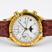 Omega Yellow gold Automatic White Roman numerals 39mm pre-owned Speedmaster Date