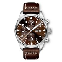 IWC Pilot Chronograph Steel 40mm Brown Arabic numerals