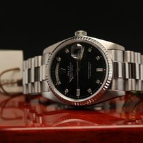 Rolex Day-Date white gold black diamond dial