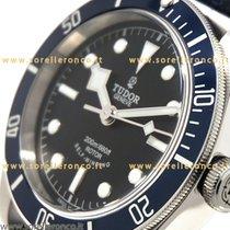 Tudor Heritage Black Bay  Blue Bezel Leather Black Dial