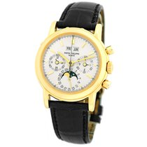 Patek Philippe Perpetual Calendar Chronograph pre-owned 36.5mm Silver Moon phase Chronograph Date Month Year 4-year calendar Perpetual calendar Crocodile skin