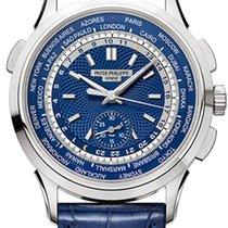 Patek Philippe World Time Chronograph Złoto białe 39.5mm Niebieski Bez cyfr