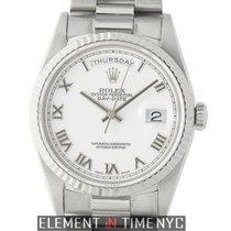 Rolex Day-Date President 18k White Gold 36mm Fluted Bezel...