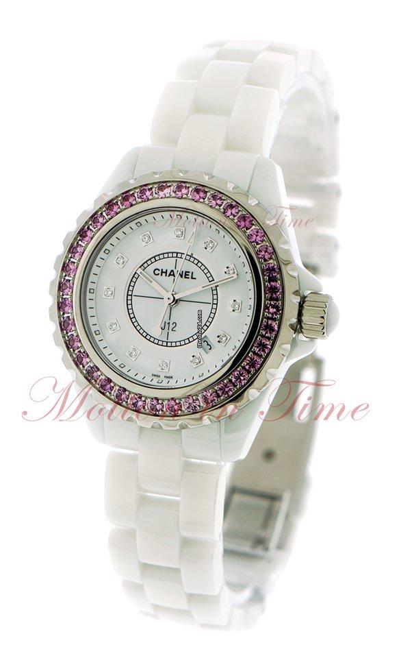Chanel J12 33mm Quartz White Diamond Dial Pink Sapphire For