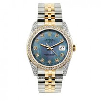 Rolex Date Unisex 34mm Blue Mother Of Pearl Dial Stainless...