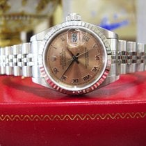 Rolex Oyster Perpetual Datejust 18k White Gold & Steel Salmon...