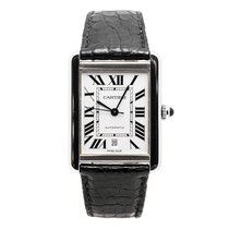 Cartier Tank Solo Xl 3515 Mens Automatic Watch Silver Dial...
