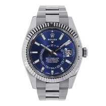 Rolex Steel Automatic Blue No numerals 42mm pre-owned Sky-Dweller