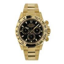 ロレックス Daytona 18K Yellow Gold Watch Black Dial Watch 116508