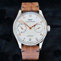 IWC Portugieser Automatik gebraucht Silber Datum Krokodilleder