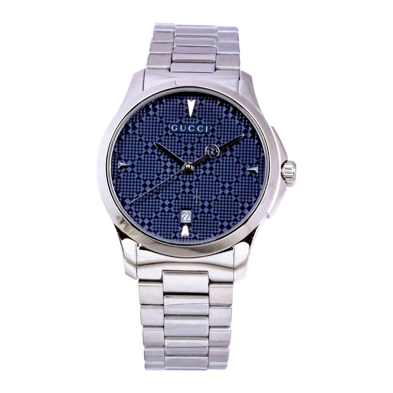d613d3b168c Gucci YA1264025 G-Timeless Diamante Blue Dial Unisex Silver Tone Sapphire  Watch