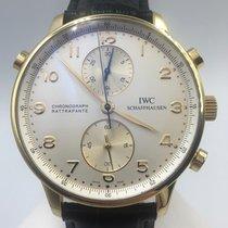 IWC Gelbgold Handaufzug Silber Arabisch 41mm gebraucht Portugieser Chronograph
