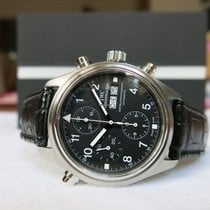 IWC Pilot Double Chronograph pre-owned Crocodile skin