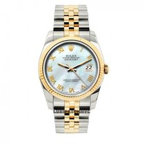 Rolex Date Unisex 34mm White Mother Of Pearl Dial Stainless...