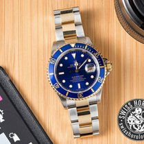 Rolex Submariner Date Two Tone Gold Steel Blue Dial Full Set