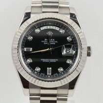 Rolex White gold Automatic Black 41mm pre-owned Day-Date II